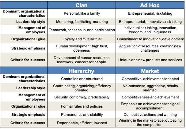 competing values, ocai, culture, map